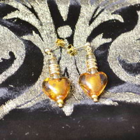 Lemon Quartz & Gold Murano Glass Heart Earrings