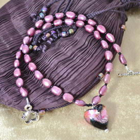 Murano Glass Heart & Pearl Necklace