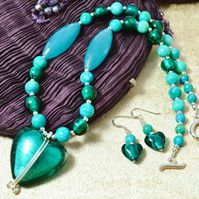 Murano Glass, Jasper & Jade Heart Jewellery Set