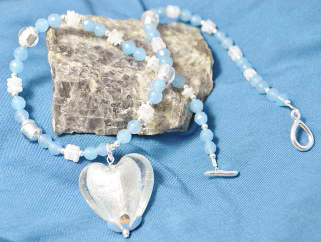 Agate & Moonstone Murano Heart Necklace