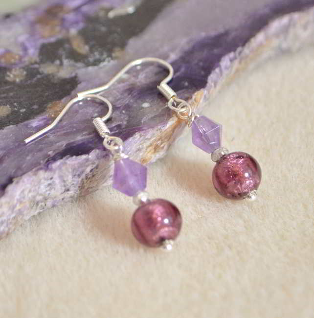 Murano Glass & Amethyst Earrings
