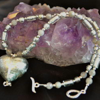 Silver Grey Murano Heart & Labradorite Necklace