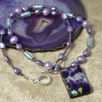 Lilac Pearl & Murano Glass Necklace