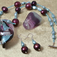 Raspberry Pearl & Murano Glass Necklace