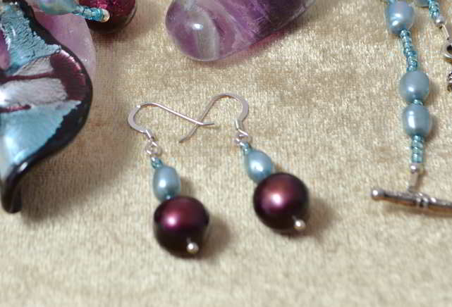 Raspberry & Sky Blue Pearl Earrings