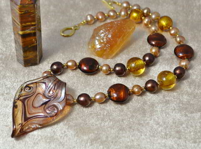 Autumn Shades Murano Glass & Pearl Necklace