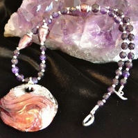 Amethyst & Murano Glass Swirl Necklace
