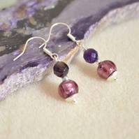 Amethyst & Murano Glass Earrings