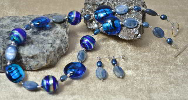 Kyanite & Murano Glass Jewellery Set