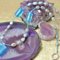 Blue Murano Glass & Grey Pearl Necklace