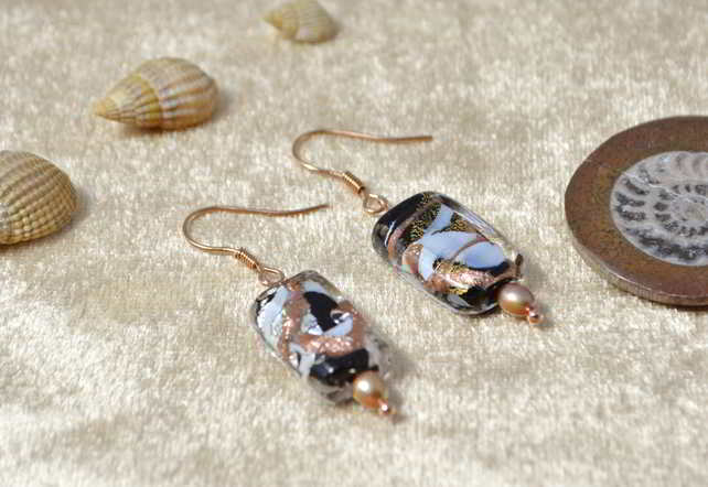 Silver & Gold Murano Glass Earrings