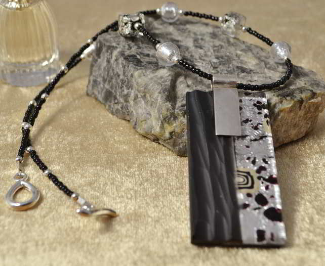 Silver & Black Murano Glass Necklace