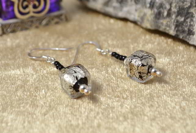 Silver & Black Murano Glass Earrings