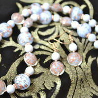 Chalcedony & Baby Blue Murano Glass Necklace