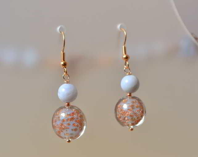 Chalcedony & Baby Blue Murano Glass Earrings