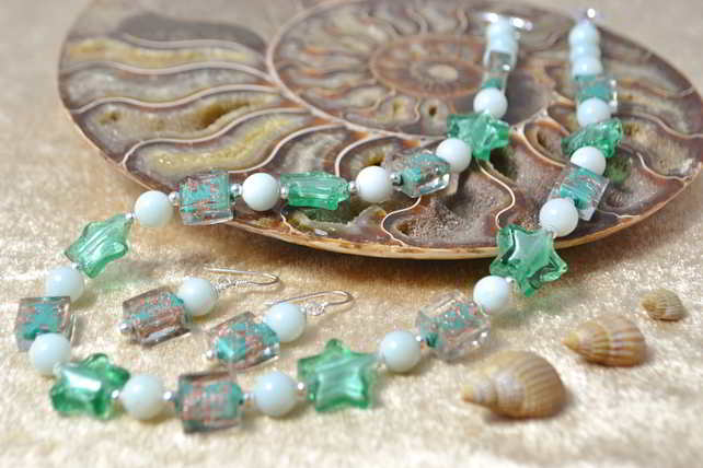 Amazonite & Murano Glass Jewellery Set