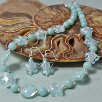 Amazonite & Sky Blue Murano Glass Jewellery Set