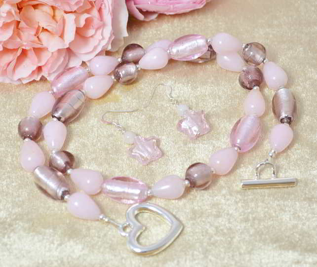 Rose Quartz & Murano Glass Jewellery Set