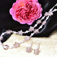 Rose Quartz & Murano Glass Stars Jewellery Set