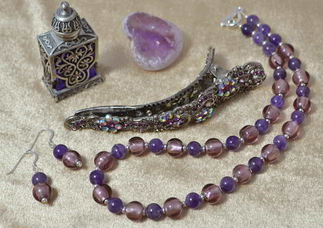 Amethyst & Murano Glass Jewellery Set