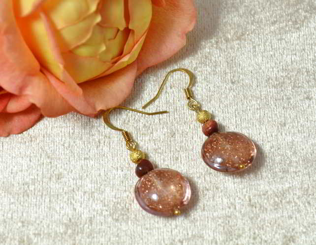 Sparkling Metallic Murano Glass Earrings
