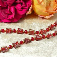 Red Agate & Murano Glass Necklace