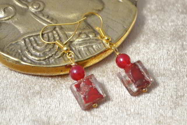 Red Agate & Murano Glass Earrings