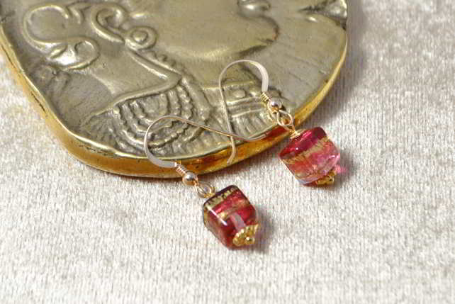 Ruby Gold Murano Glass Cube Earrings