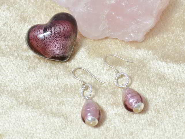 Light Amethyst Murano Glass Earrings