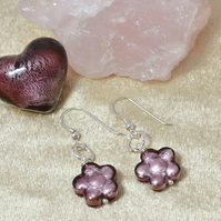 Light Amethyst Murano Glass Flower Earrings