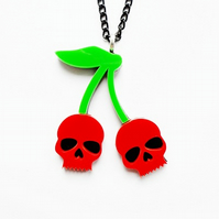 Skull cherries pendant