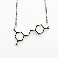Red wine molecule necklace
