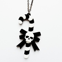 Goth candy cane necklace