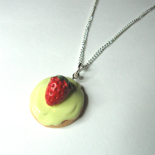 Strawberry tart pendant