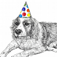 Dog Birthday Card King Charles Spaniel Party Hat Print of Original Drawing A6