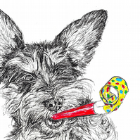 Fun Dog Birthday Card Schnoodle Party Blower Print of Original Drawing A6