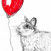 Birthday celebration card cute rabbit with balloon. Print of Original Drawing A6