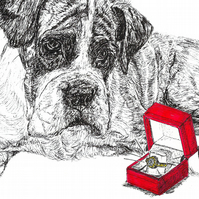 Cute Funny Boxer Dog Engagement Proposal Wedding Ring a6 Card- Print of Drawing