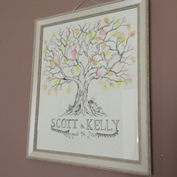 Personalised Custom Hand Drawn Illustrated Wedding Guest Fingerprint Tree A3