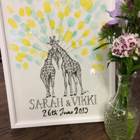 Personalised Illustrated Wedding Christening Guest Fingerprint Art Giraffe A3
