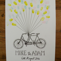 Personalised Illustrated Wedding Guest Balloon Fingerprint Art bike bicycle A3