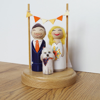 Cute Custom Vintage Shabby Personalised Wooden Peg Doll Wedding Cake Topper