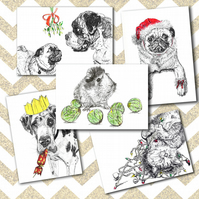 Pack of 5 Illustrated Animal Christmas Cards A6 Dogs Cats pig Funny Cute