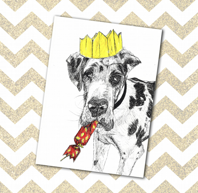 Cute Funny Dog Christmas Card Great Dane Cracker & Hat Illustration on A6 Card