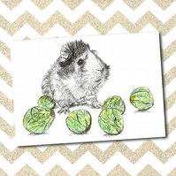 Cute Funny Guinea Pig Sprouts A6 Christmas Card-Print from Original Drawing
