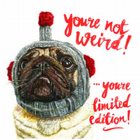 Funny Cute Pug Valentine's Birthday Card Dog Weird Print of Original Drawing