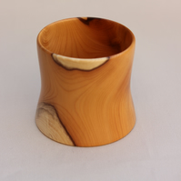 Small turned yew pot