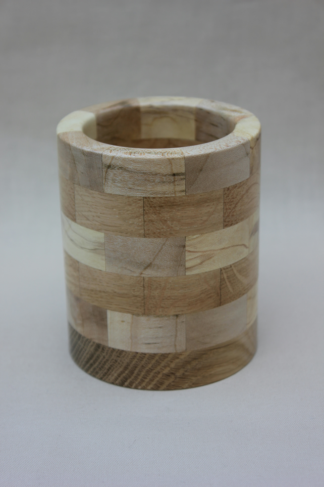 Turned wooden segmented pencil pot
