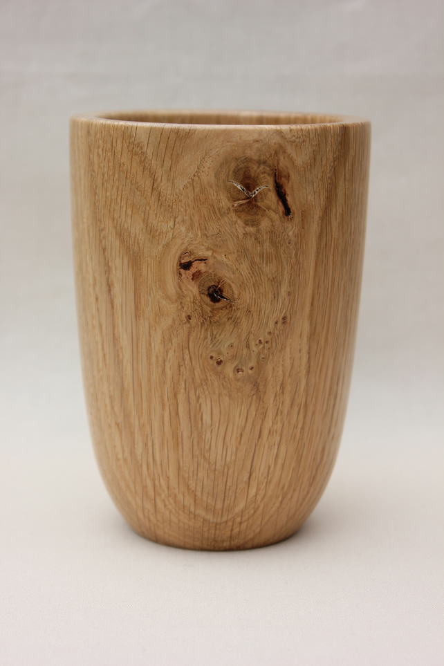 Turned wooden oak vase