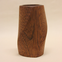 Turned utile wood three sided twisted pot